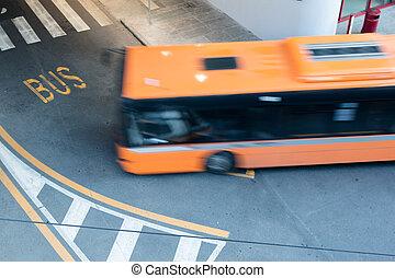 movimento, città, sfocato, strada, autobus