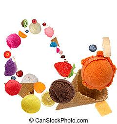 movimento, conchas, sorvete