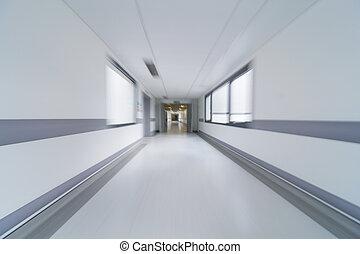 movimento, corredor hospital, borrão