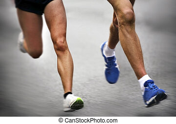 movimento, -, corredores maratona, obscurecido