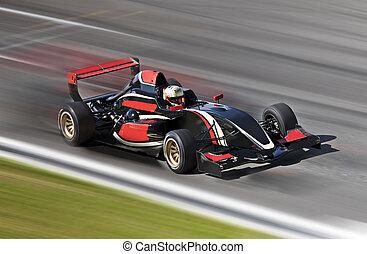 movimento, corrida carro, f1, borrão, pista, raça
