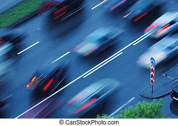 movimento, em movimento, carros, obscurecido