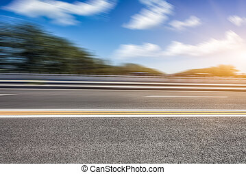movimento, estrada, borrão
