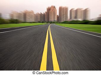 movimento, estrada cidade, borrão