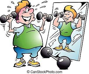 movimento, fazer, homem, condicão física, gorda