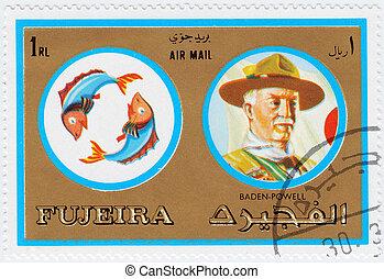 movimento, :, fundador, pessoas, selo, peixe, baden-powell, -, signos, 1971, famosos, fujeira, espiar, fujeira, sinais, peixes, impresso, circa, robert, mostra