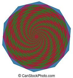 movimento, geometrico, oggetto, e, spirale