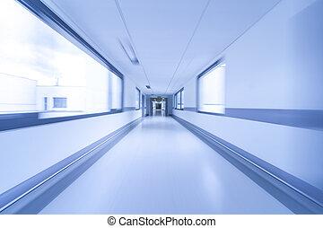 movimento, hospitalar, borrão, corredor