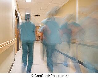 movimento, infermiere, sfocato, dottori