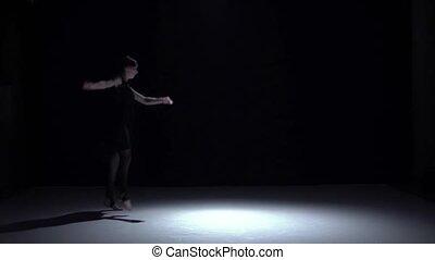 movimento, Lento, Dançar, dançarino, modernos, contemporâneo, escuro, continuar, pretas, menina, Vestido, sombra