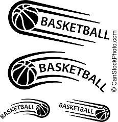movimento, linha, basquetebol, símbolo, bola