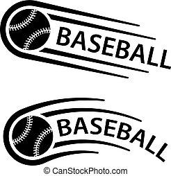 movimento, linha, bola, basebol, símbolo