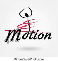 movimento, logotipo, sport, vettore