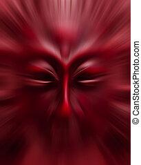 movimento, maschera, priorità bassa blurry, rosso