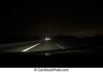 movimento, notte, offuscamento, guida, strada