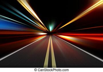 movimento, noturna, abstratos, velocidade, aceleração