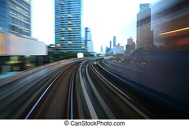 movimento, obscurecido, ligado, acelerando, trem