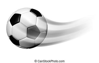 movimento, palla, fondo, isolato, calcio, bianco
