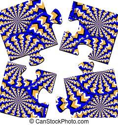 movimento, Quebra-cabeça,  illusion-o, ilusão