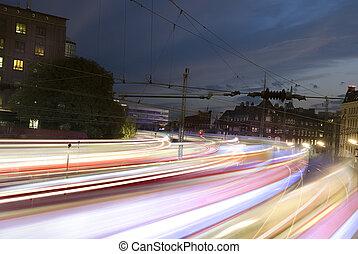 movimento, rapidamente, borrão, trens