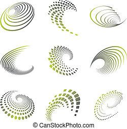 movimento, simbolo, set, onda