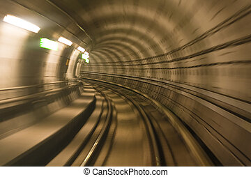 movimento, túnel, metro, obscurecido