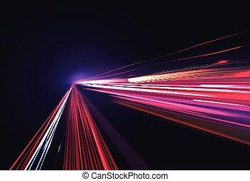 movimento, tempo, piste, immagine, offuscamento, luce, colorito, vettore, lungo, fondo, exposure., isolato, effetto