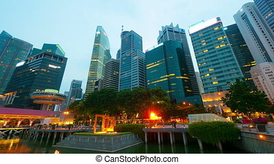 movimento, timelapse, noturna, cingapura