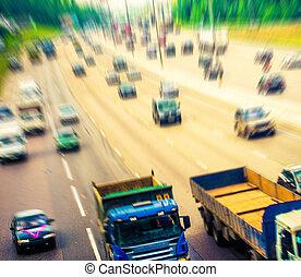 movimento, traffic;, rodovia, blurry