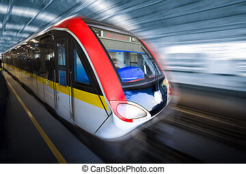 movimento, trem, borrão