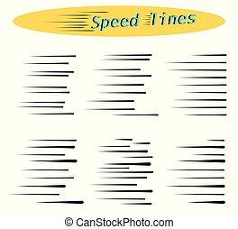 movimento, velocidade, diferente, jogo, simples, caricatura, linhas, isolado, color., experiência., vetorial, pretas, desenho, branca, manga, opções, horizontais, elementos