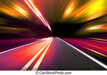 movimento, velocidade, estrada, noturna