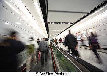 movimiento, ambulante, gente, confuso