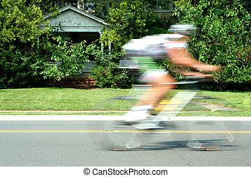 movimiento, carrera, bicicleta, confuso