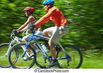 movimiento, ciclistas