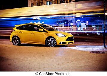 movimiento, coche, concepto, parada