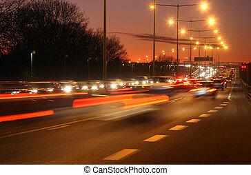 movimiento, coches, mancha, noche