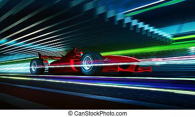 movimiento, competencia de automóvil, vista, mancha, lado, rápido, mudanza, rojo