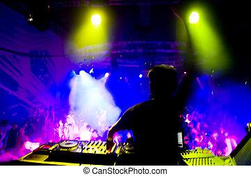movimiento, confuso, dj, concierto