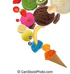 movimiento, cucharadas, helado