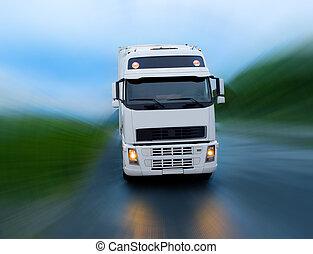 movimiento, de, camión, en, el, noche, camino