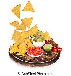 movimiento, nachos, guacamole, helada