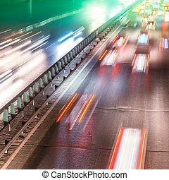 movimiento, noche, ocupado, tráfico, mancha