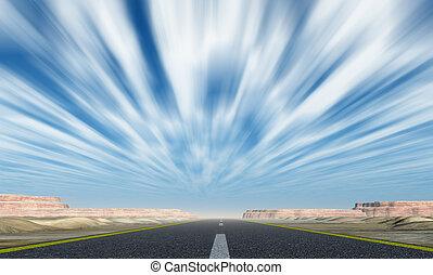 movimiento, nubes, asfalto, camino