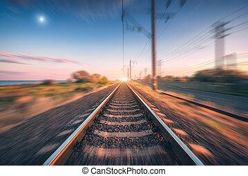 movimiento, nubes, ocaso, mancha, cielo, efecto, ferrocarril