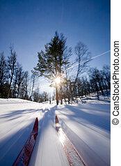 movimiento, país, cruz, esquí
