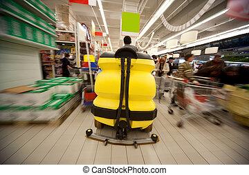 movimiento, piso, centro, amarillo, máquina, comercio,...
