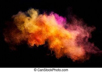 movimiento, polvo, explosión, coloreado, helada