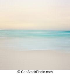 movimiento, resumen, mar, panning, vista marina, confuso