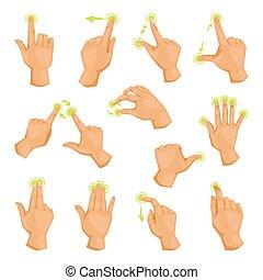 movimiento, touchscreen, golpecito, illustration., tableta,...